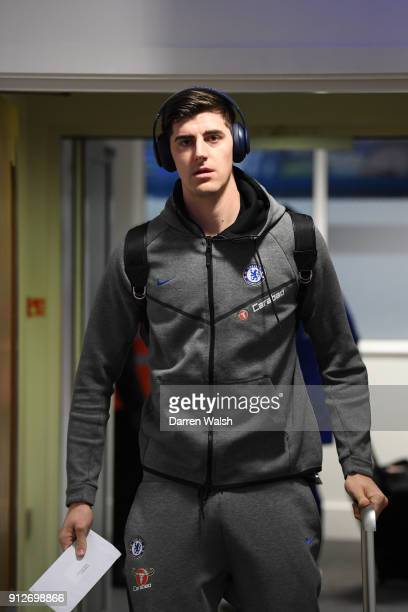 Thibaut Courtois of Chelsea arrives at the stadium prior to the Premier League match between Chelsea and AFC Bournemouth at Stamford Bridge on...