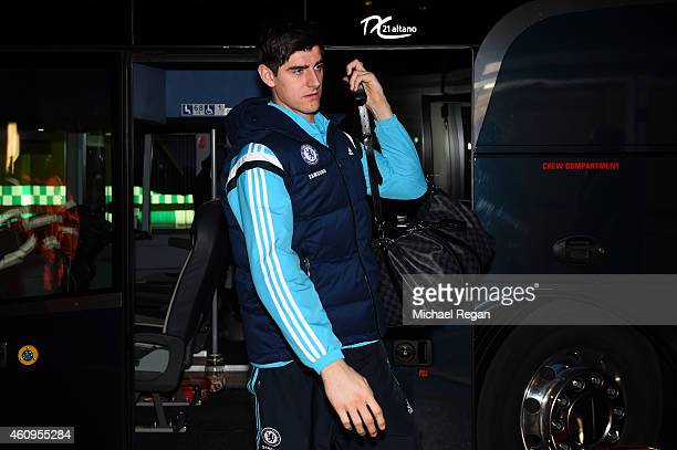 Thibaut Courtois of Chelsea arrives for the Barclays Premier League match between Tottenham Hotspur and Chelsea at White Hart Lane on January 1 2015...