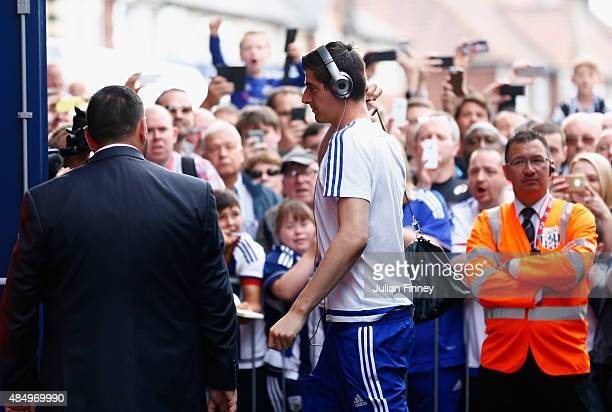 Thibaut Courtois of Chelsea arrives for the Barclays Premier League match between West Bromwich Albion and Chelsea at The Hawthorns on August 23 2015...