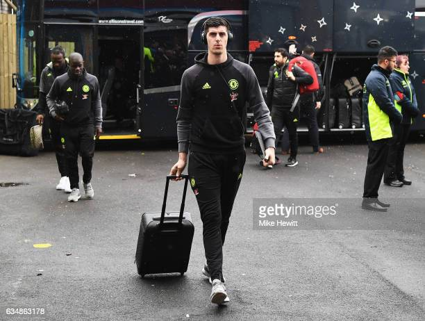 Thibaut Courtois of Chelsea arrives prior to the Premier League match between Burnley and Chelsea at Turf Moor on February 12 2017 in Burnley England