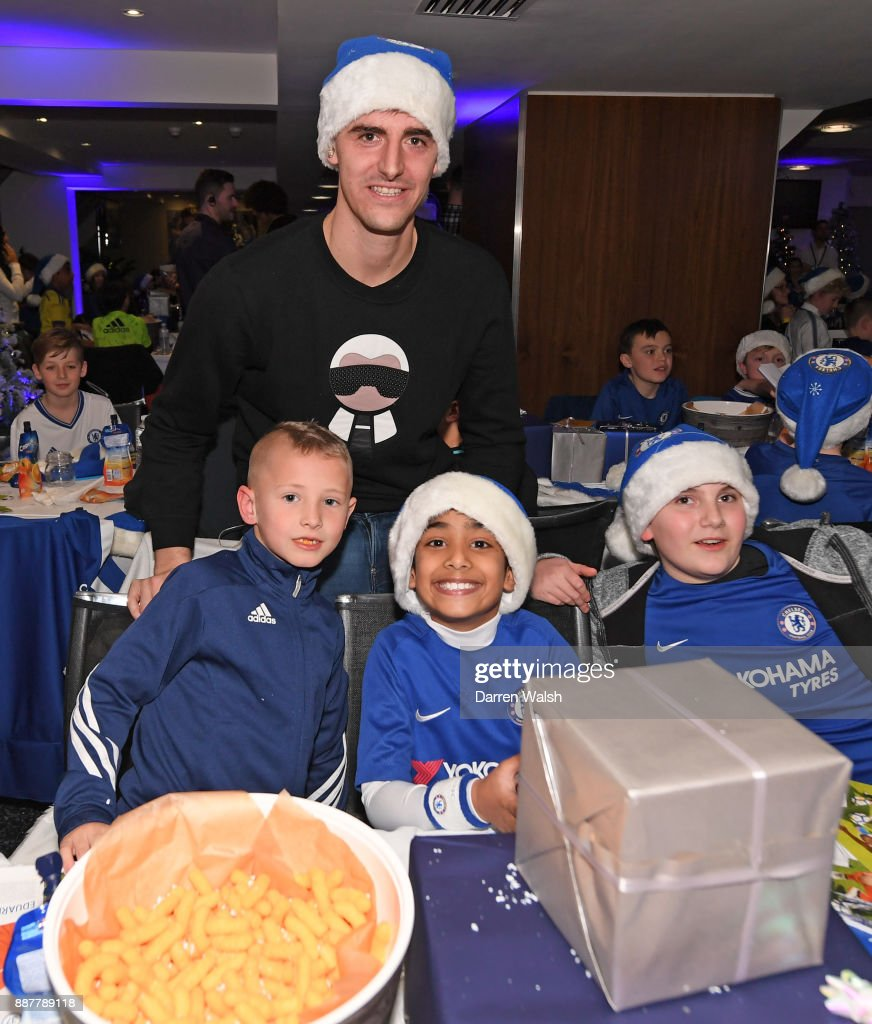Thibaut Courtois of Chelsea at the Chelsea FC kids Christmas party December 7, 2017 in London, England.