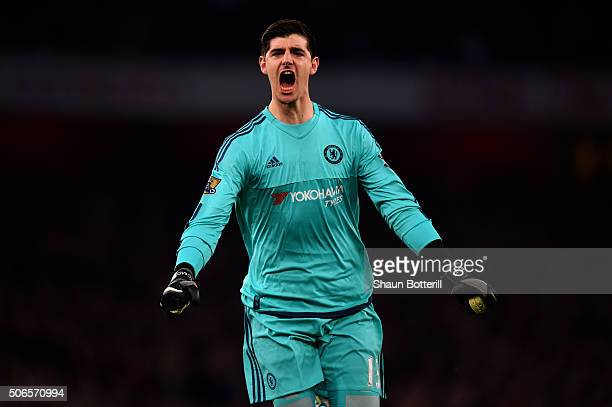 Thibaut Courtois of Chelsea celebrates after teammate Diego Costa of Chelsea scored the opening goal during the Barclays Premier League match between...