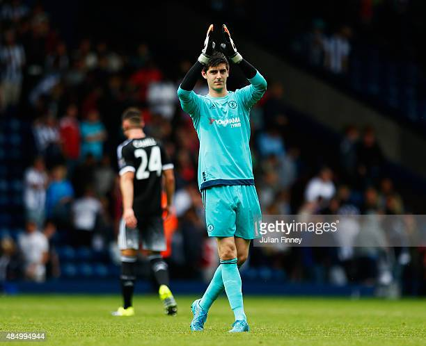 Thibaut Courtois of Chelsea celebrates after the Barclays Premier League match between West Bromwich Albion and Chelsea at The Hawthorns on August 23...