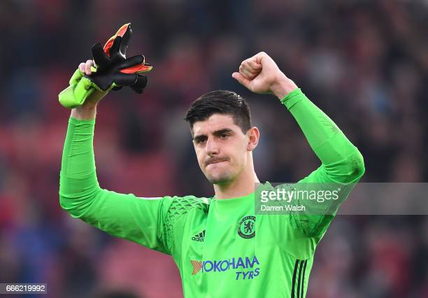 Thibaut Courtois of Chelsea celebrates after the Premier League match between AFC Bournemouth and Chelsea at Vitality Stadium on April 8 2017 in...