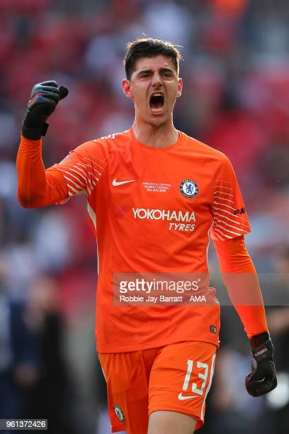 Thibaut Courtois of Chelsea celebrates at full time during The Emirates FA Cup Final between Chelsea and Manchester United at Wembley Stadium on May...