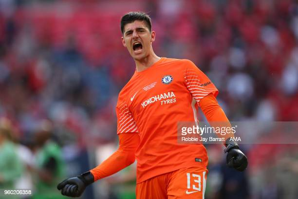 Thibaut Courtois of Chelsea celebrates at the end of the Emirates FA Cup Final between Chelsea and Manchester United at Wembley Stadium on May 19...