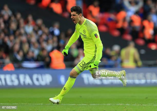 Thibaut Courtois of Chelsea celebrates during The Emirates FA Cup Semi-Final between Chelsea and Tottenham Hotspur at Wembley Stadium on April 22,...