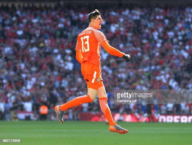 Thibaut Courtois of Chelsea celebrates following his side's first goal during The Emirates FA Cup Final between Chelsea and Manchester United at...