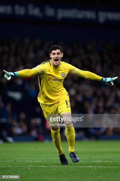 Thibaut Courtois of Chelsea celebrates his side's second goal during the Premier League match between West Bromwich Albion and Chelsea at The...