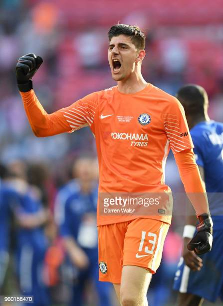 Thibaut Courtois of Chelsea celebrates his sides victory following The Emirates FA Cup Final between Chelsea and Manchester United at Wembley Stadium...