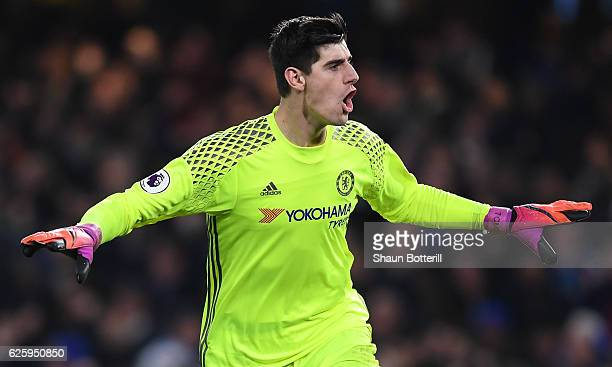 Thibaut Courtois of Chelsea celebrates his team's second goal during the Premier League match between Chelsea and Tottenham Hotspur at Stamford...