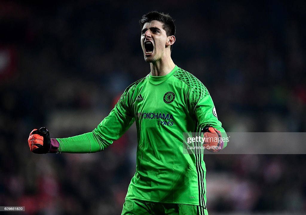 Thibaut Courtois of Chelsea celebrates the final whistle during the Premier League match between Sunderland and Chelsea at Stadium of Light on December 14, 2016 in Sunderland, England.
