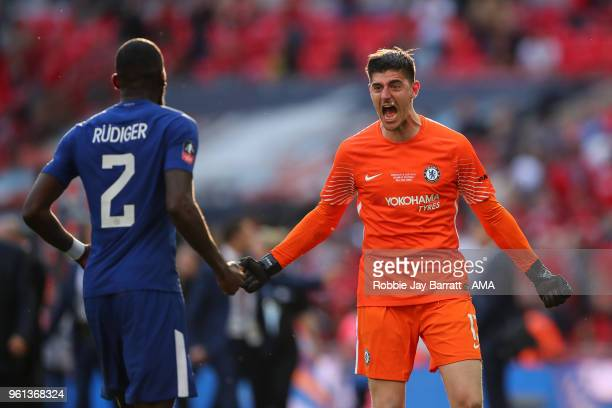 Thibaut Courtois of Chelsea celebrates with Antonio Rudiger of Chelsea at full time during The Emirates FA Cup Final between Chelsea and Manchester...