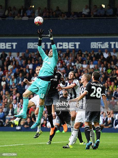 Thibaut Courtois of Chelsea claims a cross during the Barclays Premier League match between West Bromwich Albion and Chelsea at The Hawthorns on...