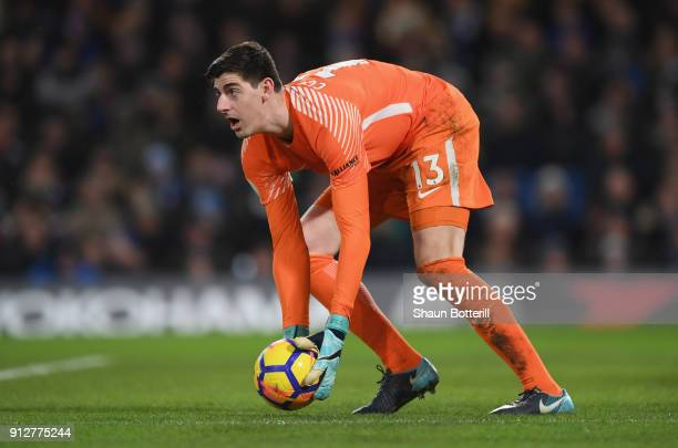 Thibaut Courtois of Chelsea collects the ball during the Premier League match between Chelsea and AFC Bournemouth at Stamford Bridge on January 31...