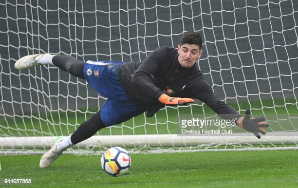 Thibaut Courtois of Chelsea during a Chelsea Training Session at Chelsea Training Ground on April 11 2018 in Cobham England