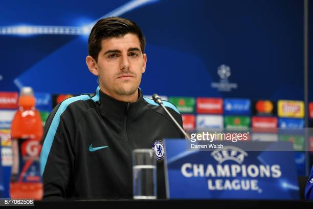 Thibaut Courtois of Chelsea during a press conference at Olympic stadium on November 21 2017 in Baku Azerbaijan