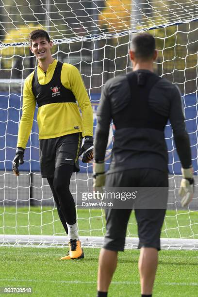 Thibaut Courtois of Chelsea during a training session at Chelsea Training Ground on October 20 2017 in Cobham United Kingdom