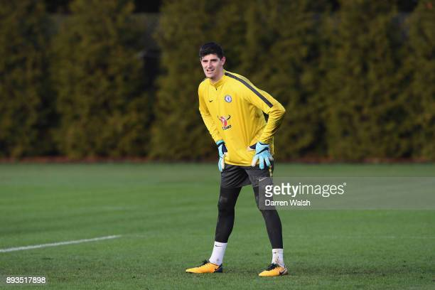 Thibaut Courtois of Chelsea during a training session at Chelsea Training Ground on December 15 2017 in Cobham England