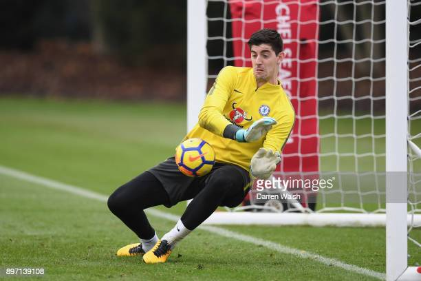 Thibaut Courtois of Chelsea during a training session at Chelsea Training Ground on December 22 2017 in Cobham England