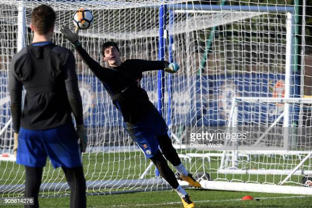 Thibaut Courtois of Chelsea during a training session at Chelsea Training Ground on January 16 2018 in Cobham England