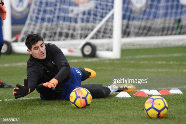 Thibaut Courtois of Chelsea during a training session at Chelsea Training Ground on February 9 2018 in Cobham England