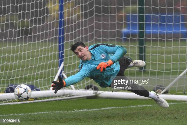 Thibaut Courtois of Chelsea during a training session at Chelsea Training Ground on February 19 2018 in Cobham England