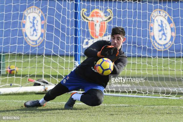 Thibaut Courtois of Chelsea during a training session at Chelsea Training Ground on February 23 2018 in Cobham United Kingdom