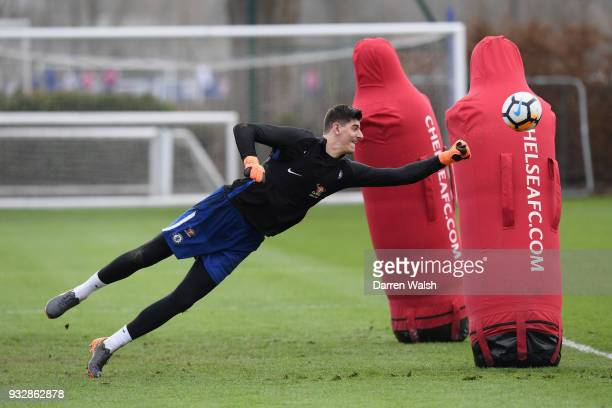 Thibaut Courtois of Chelsea during a training session at Chelsea Training Ground on March 16, 2018 in Cobham, United Kingdom.