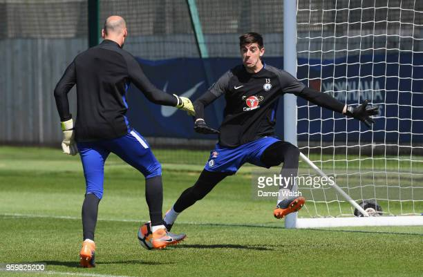 Thibaut Courtois of Chelsea during a training session at Chelsea Training Ground on May 18 2018 in Cobham England