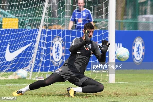 Thibaut Courtois of Chelsea during a training session at Singapore American School on July 28 2017 in Singapore