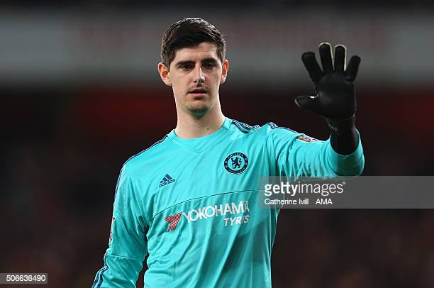 Thibaut Courtois of Chelsea during the Barclays Premier League match between Arsenal and Chelsea at the Emirates Stadium on January 24 2016 in London...