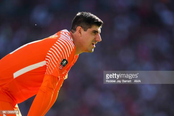 Thibaut Courtois of Chelsea during The Emirates FA Cup Final between Chelsea and Manchester United at Wembley Stadium on May 19 2018 in London England