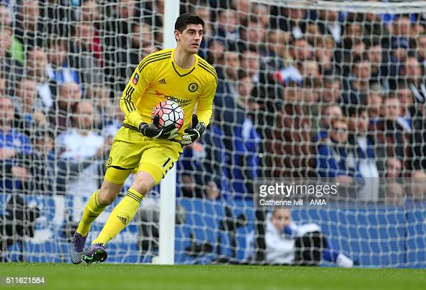 Thibaut Courtois of Chelsea during the Emirates FA Cup match between Chelsea and Manchester City at Stamford Bridge on February 21 2016 in London...