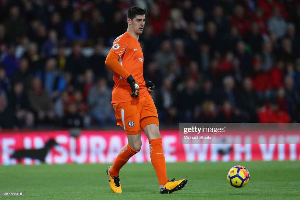 Thibaut Courtois of Chelsea during the Premier League match between AFC Bournemouth and Chelsea at Vitality Stadium on October 28, 2017 in Bournemouth, England.