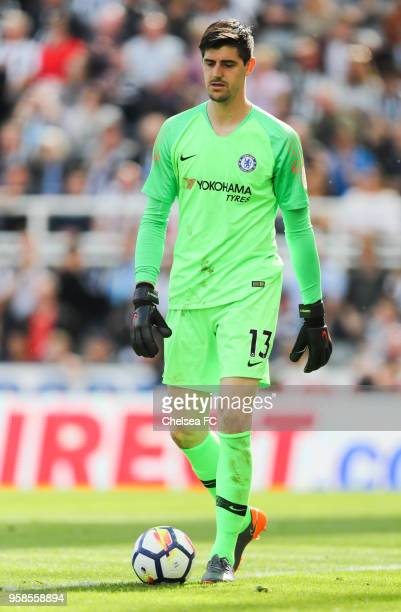 Thibaut Courtois of Chelsea during the Premier League match between Newcastle United and Chelsea at St James Park on May 13 2018 in Newcastle upon...