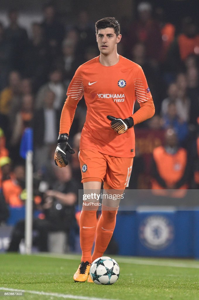 Thibaut Courtois of Chelsea during the UEFA Champions League match between Chelsea v AS Roma at Stamford Bridge Stadium, London, United Kingdom on 18 October 2017.