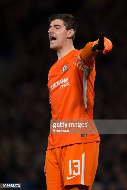 Thibaut Courtois of Chelsea during the UEFA Champions League Round of 16 First Leg match between Chelsea FC and FC Barcelona at Stamford Bridge on...