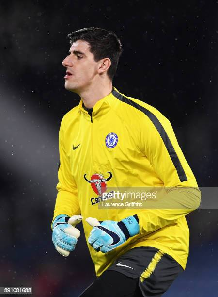 Thibaut Courtois of Chelsea during the warm up prior to the Premier League match between Huddersfield Town and Chelsea at John Smith's Stadium on...