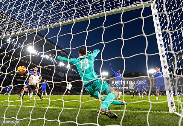Thibaut Courtois of Chelsea fails to stop the shot by Ramiro Funes Mori of Everton allowing Everton's third goal during the Barclays Premier League...