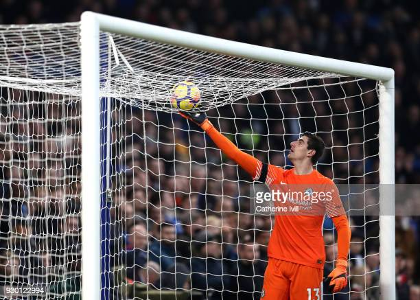 Thibaut Courtois of Chelsea gathers the ball during the Premier League match between Chelsea and Crystal Palace at Stamford Bridge on March 10 2018...