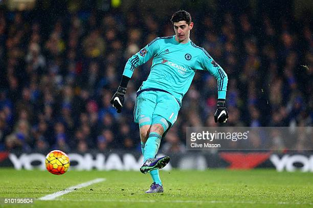 Thibaut Courtois of Chelsea in action during the Barclays Premier League match between Chelsea and Newcastle at Stamford Bridge on February 13 2016...