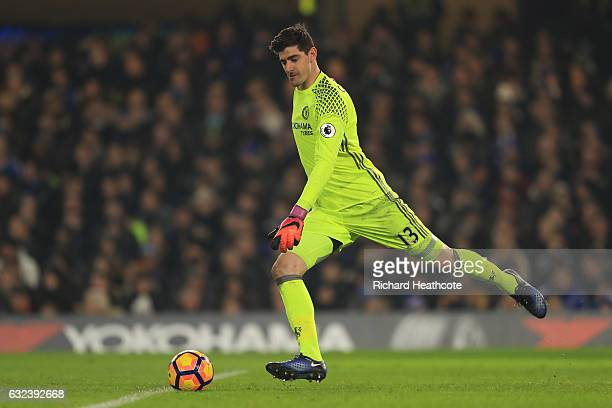 Thibaut Courtois of Chelsea in action during the Premier League match between Chelsea and Hull City at Stamford Bridge on January 22 2017 in London...