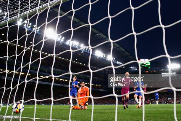 Thibaut Courtois of Chelsea is beaten by Kevin De Bruyne of Manchester City for Manchester City first goal during the Premier League match between...