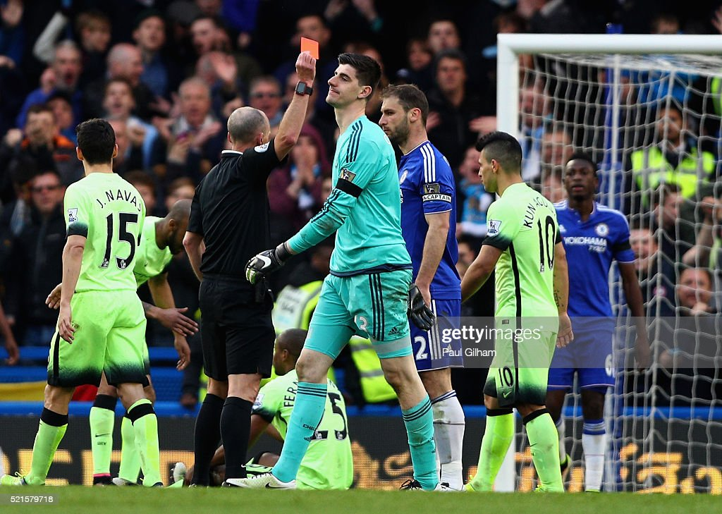 Thibaut Courtois of Chelsea leaves the pitch following recieving a red card during the Barclays Premier League match between Chelsea and Manchester City at Stamford Bridge on April 16, 2016 in London, England.