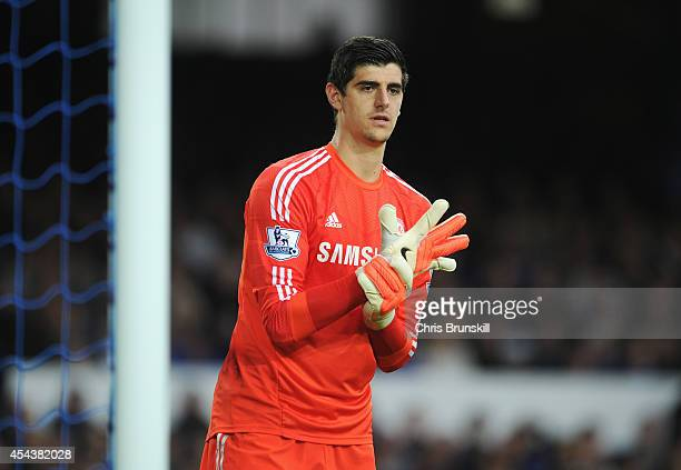 Thibaut Courtois of Chelsea looks on during the Barclays Premier League match between Everton and Chelsea at Goodison Park on August 30 2014 in...