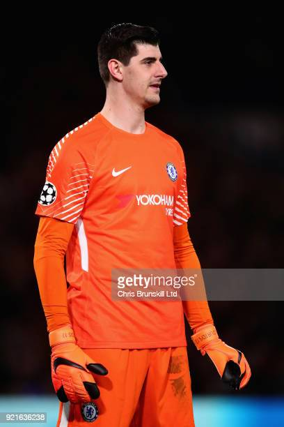 Thibaut Courtois of Chelsea looks on during the UEFA Champions League Round of 16 First Leg match between Chelsea FC and FC Barcelona at Stamford...