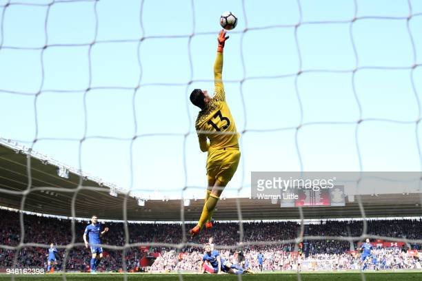 Thibaut Courtois of Chelsea makes a save during the Premier League match between Southampton and Chelsea at St Mary's Stadium on April 14 2018 in...
