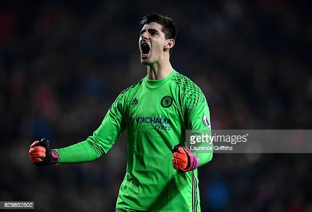 Thibaut Courtois of Chelsea reacts after the final whistle during the Premier League match between Sunderland and Chelsea at Stadium of Light on...