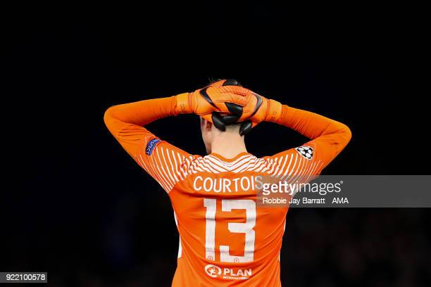 Thibaut Courtois of Chelsea reacts during the UEFA Champions League Round of 16 First Leg match between Chelsea FC and FC Barcelona at Stamford...